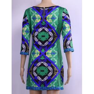 Back Zipped Floral Print Loose Dress - GREEN S