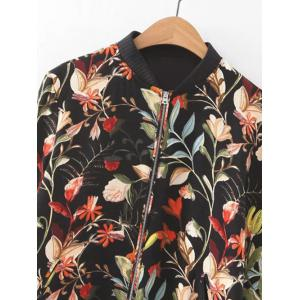 Floral Pattern Zipper Design Jacket -