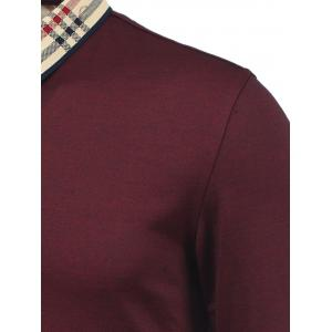 Tartan Splicing Turn-Down Collar Long Sleeve Polo T-Shirt -