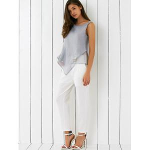 Embroidered Asymmetrical Tank Top and Pants Set -