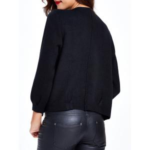 Shirred Puff Sleeves Short Knitted Cardigan -