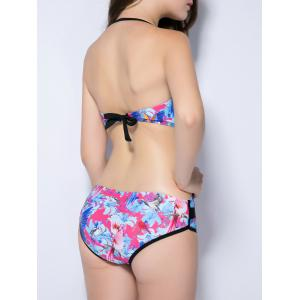 Halter Floral Print Backless Bird Pattern Swimwear - ROSE RED XL