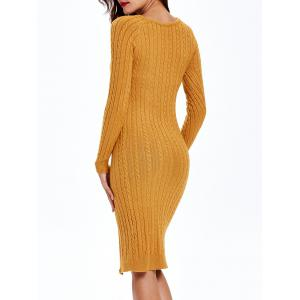 Cable Knit Long Sleeve Bodycon Sweater Dress - EARTHY ONE SIZE
