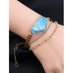 Faux Gemstone Rhinestone Layered Bracelet -