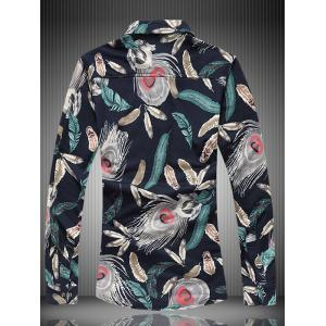 Long Sleeve All-Over Feather Printed Shirt - COLORMIX 7XL