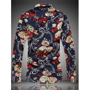 Long Sleeve All-Over Floral Printed Shirt - COLORMIX 7XL