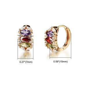 Pair of Multicolored Rhinestone Charm Earrings - GOLDEN