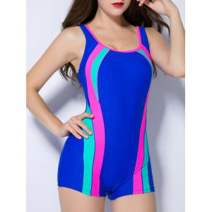 Contrast Color Splicing Backless Swimwear - SAPPHIRE BLUE 3XL