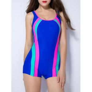 Contrast Color Splicing Backless Swimwear - SAPPHIRE BLUE 4XL