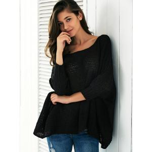 Batwing Sleeve Knitted Smock Blouse -