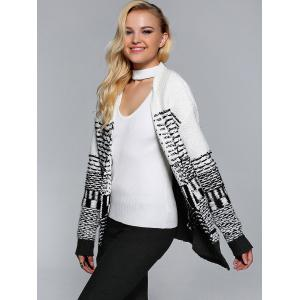 Collarless Two-Tone Ribbed Cardigan -