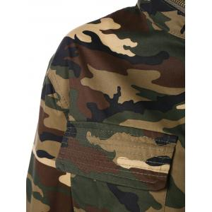 Zip Up Long Sleeve Long Camo Jacket -
