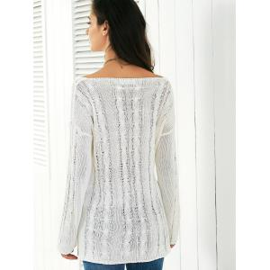 Long Sleeve Hollow Out Knitted Blouse -
