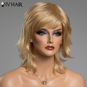 Fluffy Natural Wavy Siv Hair Capless Medium Layered Side Bang Human Hair Wig -