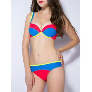Contrast Color Push Up TopStitched Bikini Set -