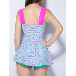 Push Up Flamingo Ruched One Piece Swimsuit - TIFFANY BLUE 2XL
