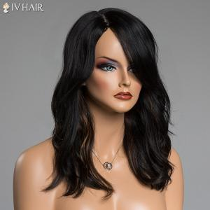 Long Brown Highlight Siv Hair Fluffy Wave Side Parting Human Hair Capless Wig -