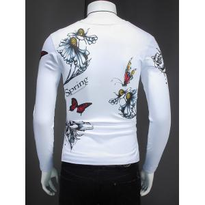 Butterfly and Flower Pattern V-Neck T-Shirt -