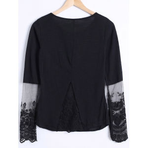 See Through Lace Trim Blouse -