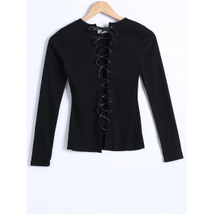 Ribbed Knit Lace-Up Blouse -