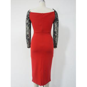 Lace See-Through Long Sleeve Pencil Dress - RED WITH BLACK 2XL