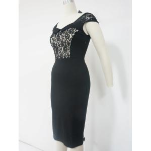 Lace Cut Out Sheath Dress - BLACK 2XL