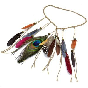 Layered Faux Leather Feather Hairband -