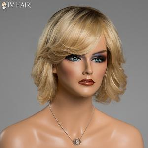 Shaggy Wave Siv Hair Short Side Bang Ombre Color Capless Human Hair Wig -