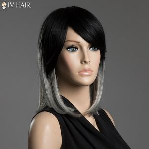 Two-Tone Ombre Straight Human Hair Medium Side Bang Capless Siv Hair Wig - COLORMIX