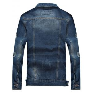 Scratched Ripped Turn-down Collar Long Sleeve Denim Jacket - BLUE XL
