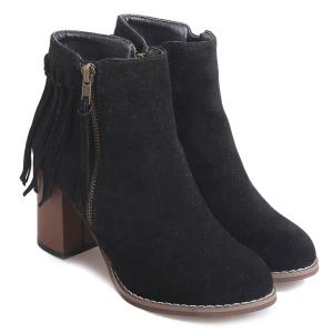Zipper Suede Fringe Ankle Boots - BLACK 39