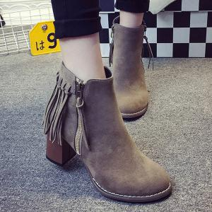 Zipper Suede Fringe Ankle Boots -