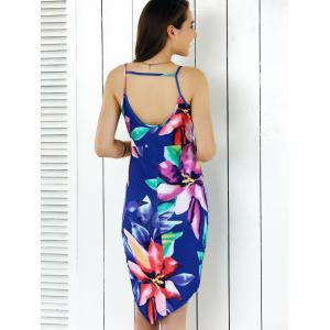Open Back Asymmetric Dress With Floral Print -
