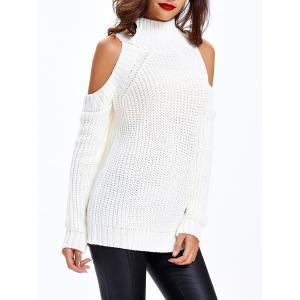 Textured Cold Shoulder Sweater - WHITE ONE SIZE