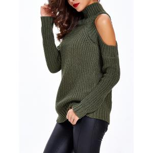 Textured Cold Shoulder Sweater - ARMY GREEN ONE SIZE