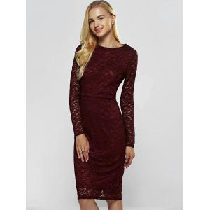 Lace Long Sleeve Sheath Evening Cocktail Dress - WINE RED XS