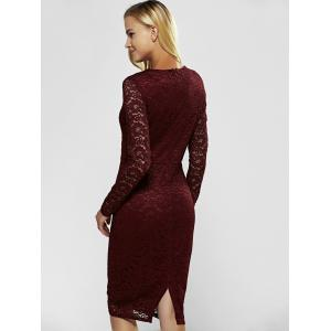 Lace Long Sleeve Sheath Evening Cocktail Dress -
