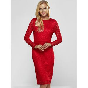 Lace Long Sleeve Sheath Evening Cocktail Dress - RED M