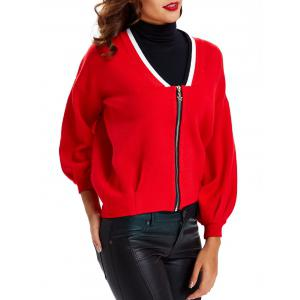 Puff Sleeves Shirred Zipper-Front Cardigan -