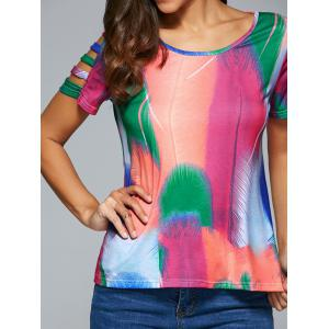 Hollow Out Multi Color Feather Print T-Shirt -