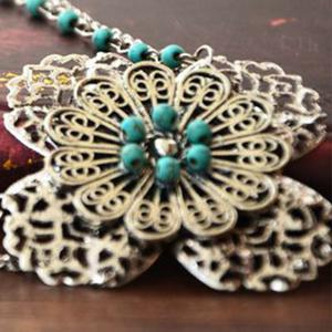 Faux Turquoise Filigree Floral Layered Headband -