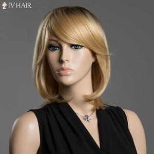 Straight Tail Adduction Siv Hair Capless Medium Ombre Color Human Hair Wig -