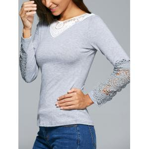 Lace Insert Crochet Hollow Out T-Shirt - GRAY L