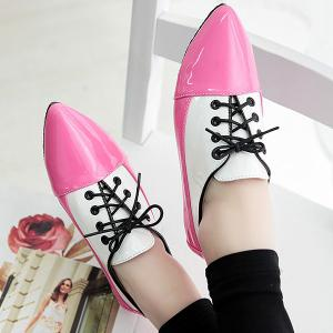 Point Toe Color Block Flat Shoes - RED 38