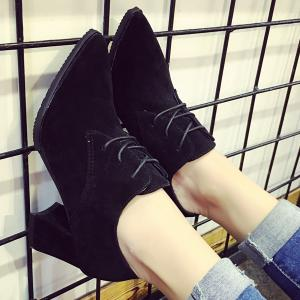 Chunky Heel Tie Up Pointed Toe Pumps -