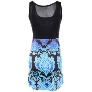 Splicing Tribal Pattern Mini Dress - BLACK XL