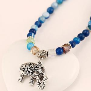 Elephant Decorated Faux Agate Wrap Bead Bracelet -