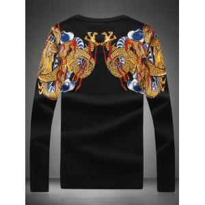 Dragon Print Rhinestone Embellished Sweater -