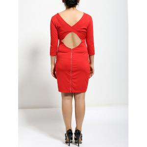 3/4 Sleeve Back Zipped Hollow Out Bodycon Dress -