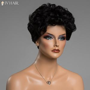 Human Hair Short Haircut Capless Fluffy Curly Siv Hair Wig - JET BLACK